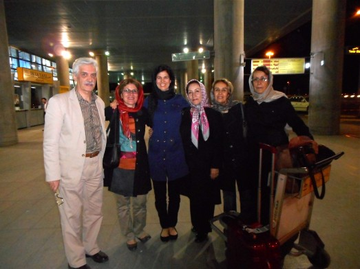 With the family, just after landing in Tehran. You can just see my little red Rimowa suitcase in the foreground.