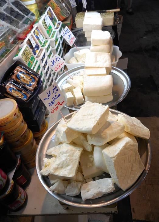 Sheep's milk cheese at the Tabriz bazaar