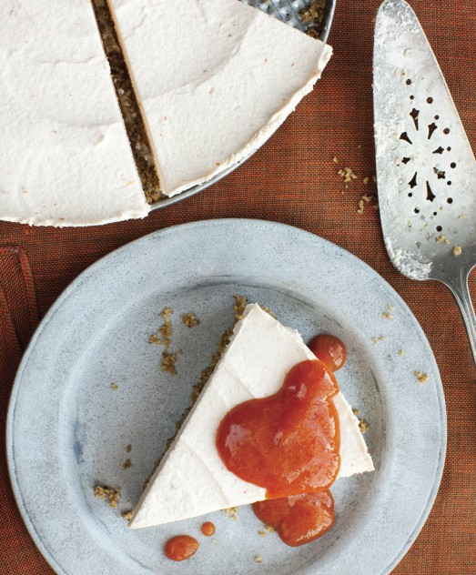 Persimmon goat cheese cheesecake. Photo credit: Sara Remington